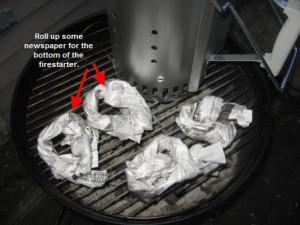 Roll up newspaper for chimney starter