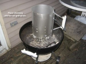 Charcoal chimney starter on the Weber Smokey Joe grill.