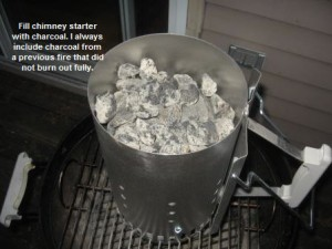 Fill charcoal chimney starter with charcoal