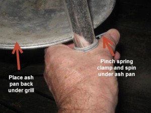Pinch spring clamp and move back
