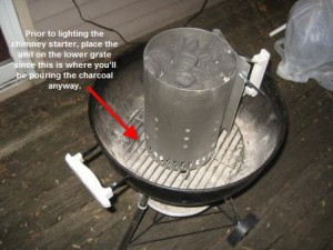 Place chimney starter on lower grate of grill