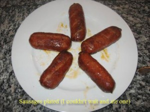 Sausages plated