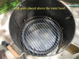 Grill grate placed above the water bowl