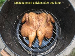 Spatchcocked chicken after one hour