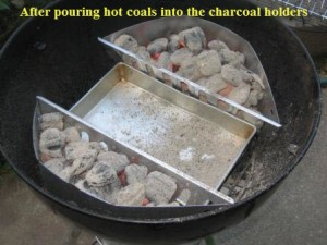 Hot Charcoal Briquette Holders in Kettle Grill with Drip Pan