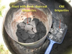 Filling the chimney starter