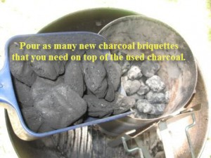 Sandwiching the old briquettes with new