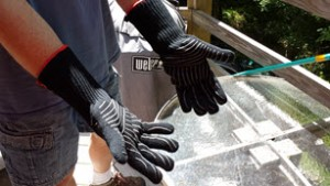 Wearing gloves right before grilling.