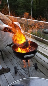Dumping burning charcoal into my Weber One Touch Grill