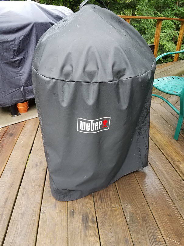 using my weber grill cover on my deck