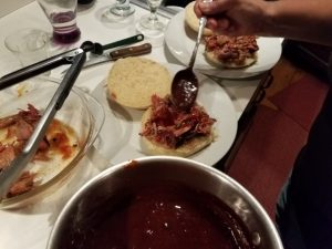 Applying homemade BBQ Sauce
