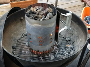 Chimney starter flaming